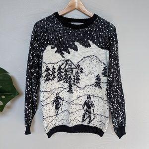 Vintage Stefano winter sweater, 80s ski sweater